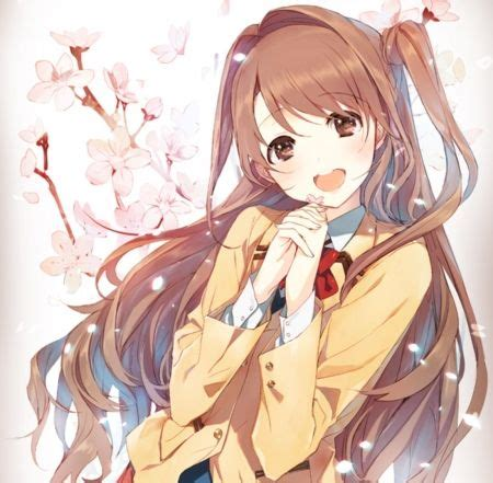 Shimamura Uzuki - pink, long hair, anime, tie, red, yellow ... - long brown hair beautiful cute anime girl