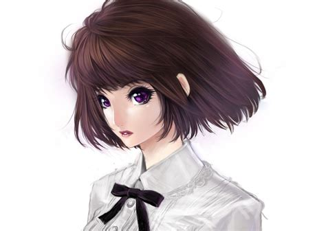 Pin on Anime. - shy anime girl with short brown hair and brown eyes