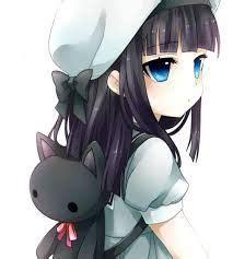 ⁂anime girl wearing hoodie⁂ - cute anime girl brown hair blue eyes hoodie