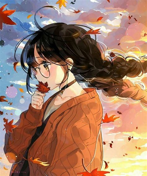Autum wind...sunset...glasses...brown hair...cute...kawaii ... - aesthetic anime girl with short brown hair and glasses