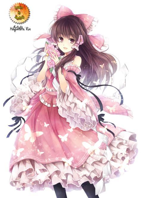 Anime girl - brown hair, brown eyes, pink-black dress ... - brown hair princess beautiful brown hair princess cute anime girl