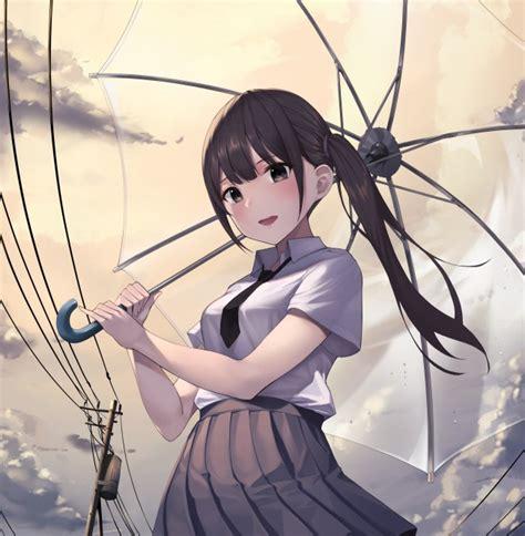 Wallpaper Anime Girl, Transparent Umbrella, Brown Hair ... - ponytail anime girl dark brown hair