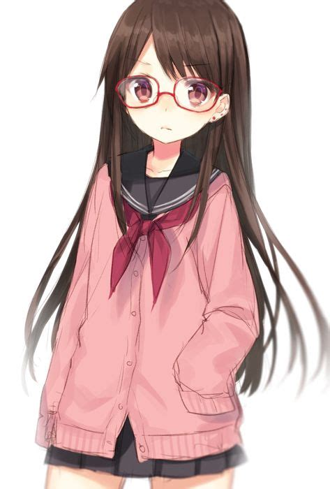 1girl brown_eyes brown_hair cardigan cowboy_shot ear ... - girl anime characters with brown hair and glasses