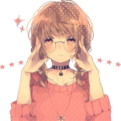 67 images about Anime Boy & Girl With Glasses on We Heart ... - aesthetic anime girl pfp brown hair and glasses