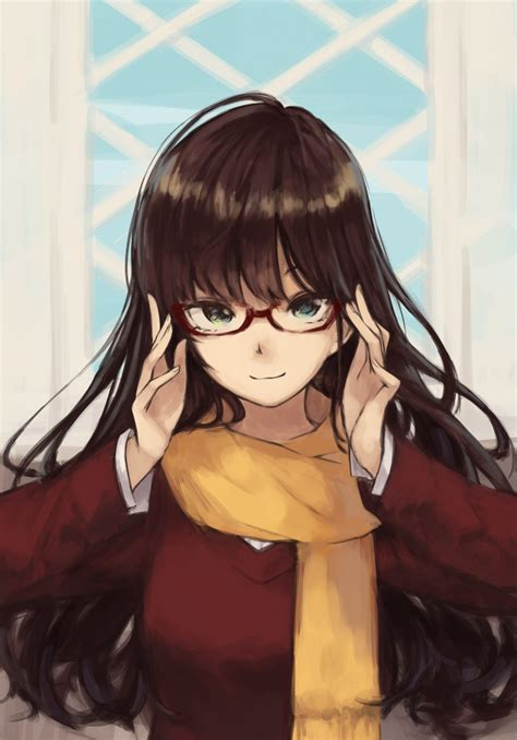 1girl bespectacled blue_eyes brown_hair glasses ichinose ... - girl anime characters with brown hair and glasses