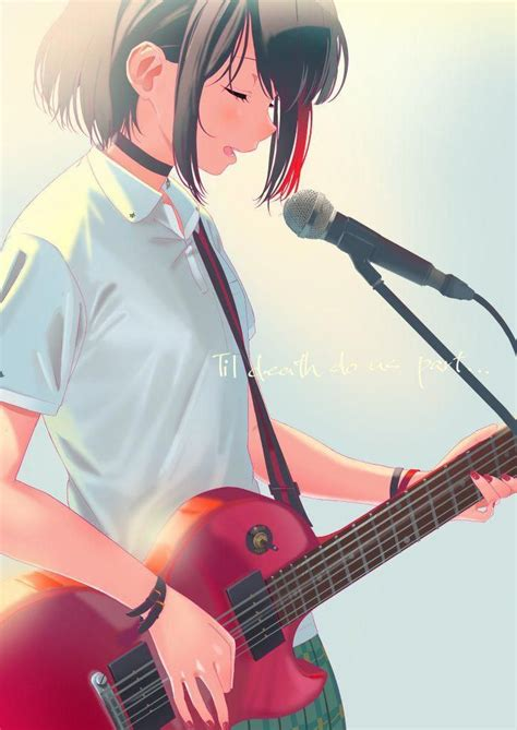 Pin auf Anime Cute Girl Wallpaper - girl playing guitar brown hair beautiful cute anime girl