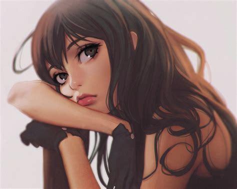 Wallpaper : face, model, long hair, anime girls, brunette ... - brown hair beautiful anime girl with glasses