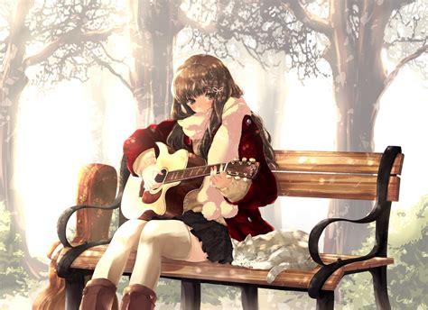 Anime girl brown hair and brown eyes play guitar wallpaper ... - brown hair beautiful anime girl playing guitar