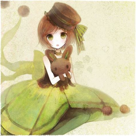 Tags: Anime, Chocolate, Green Outfit, Pechika, Green Dress ... - shy anime girl short brown hair