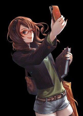 Pin on Itens Para Uso Em Fichas - girl anime characters with brown hair and glasses