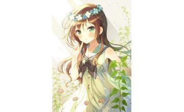 Chibi girl avatar - Anime Girls Avatar (144437) - brown hair green eyes brown hair flower crown cute anime girl