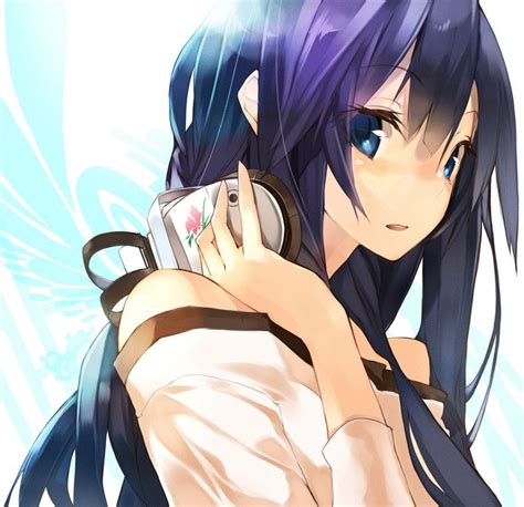 Cute Anime girl with black hair, blue eyes and headphones ... - brown hair cute anime girl with headphones
