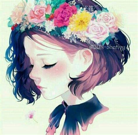Girl short hair flower crown  Anime art girl, Manga art ... - brown hair green eyes brown hair flower crown cute anime girl