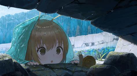 Brown eyes brown hair close hoodie loli original rain ... - anime girl brown hair brown eyes black hoodie