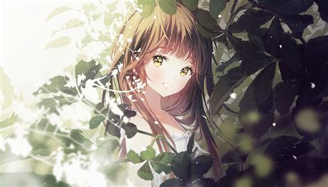 Desktop Wallpaper Smile, Cute Anime Girl, Original, Brown ... - aesthetic anime girl with brown hair and green eyes