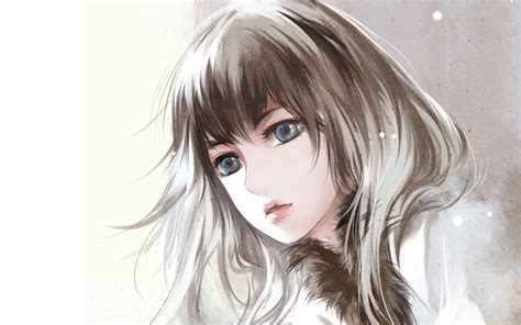 Anime, Women, Face, Artwork Wallpapers HD / Desktop and ... - brown hair beautiful anime girl face