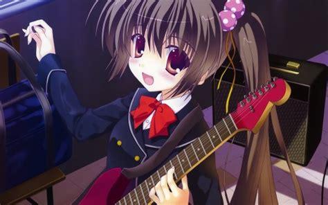 Anime Girl playing guitar HD Wallpaper  Background Image ... - brown hair beautiful anime girl playing guitar