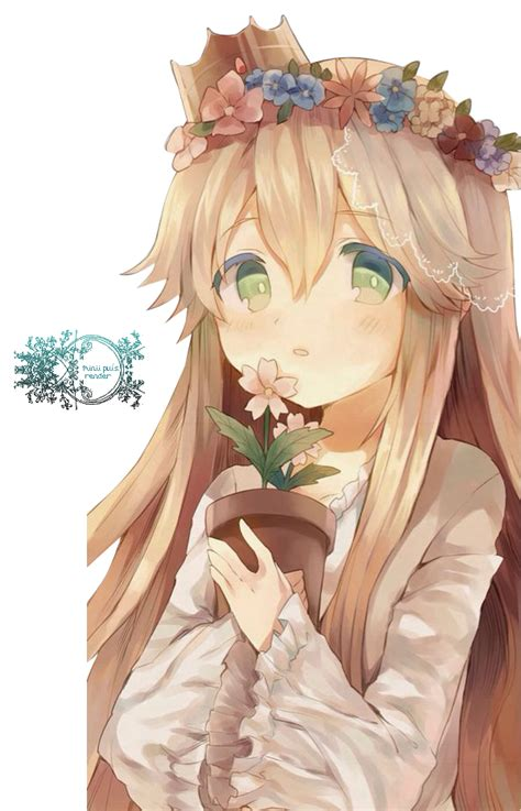 Anime girls with flower crowns - Google Search  Anime & Chibi - brown hair green eyes brown hair flower crown cute anime girl