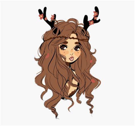 Aesthetic Clipart Girl - Deer Girl Drawing , Transparent ... - brown hair flower crown cat brown eyes brown hair flower crown cat cute anime girl