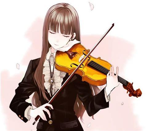 Anime Music Spotlight - Part 2: Violin  Spotlight, Anime ... - brown hair beautiful anime girl playing guitar