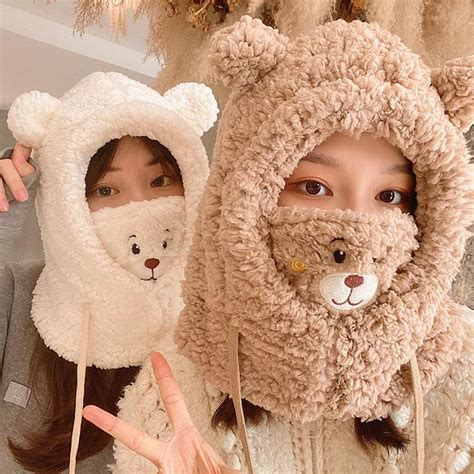 Japanese Winter Kawaii Comfy Bear Face Mask Hat Scarf ... - brown hair sweater blue eyes brown hair sweater cute anime girl