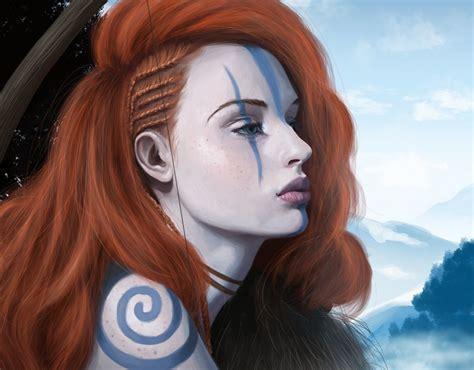 Wallpaper : face, women, redhead, model, fantasy art ... - brown hair beautiful anime girl face
