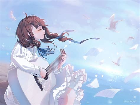 Animal bird brown_hair clouds guitar instrument marmalade ... - brown hair beautiful anime girl playing guitar