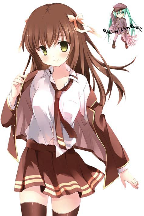 Anime Girl Brown Render by Mali-N on DeviantArt - brown anime girl hair png