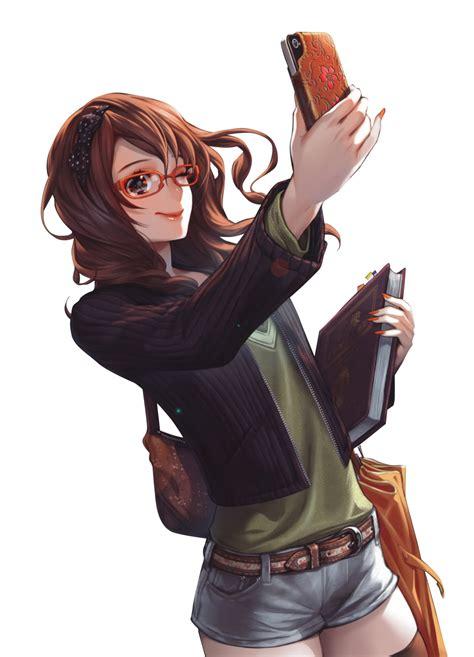 Brown hair anime girl glasses phone render png by ... - brown hair cute anime girl with glasses