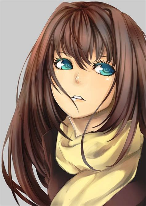 Anime, girl, cute, kawaii, brown hair, blue eyes, art ... - blue eyes brown hair beautiful cute anime girl