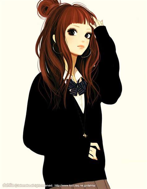 My friend by tknk.deviantart.com on @deviantART ... - anime girl brown hair brown eyes hoodie