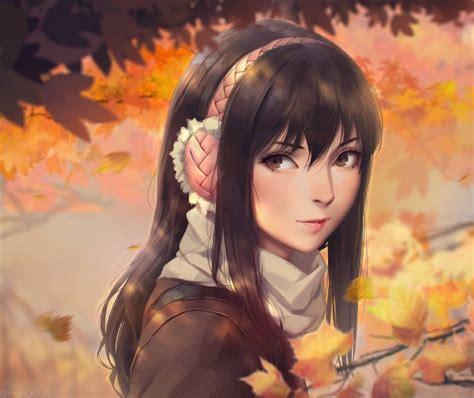 Wallpaper Anime Girl, Headphones, Scarf, Brown Hair ... - brown hair cute anime girl with headphones