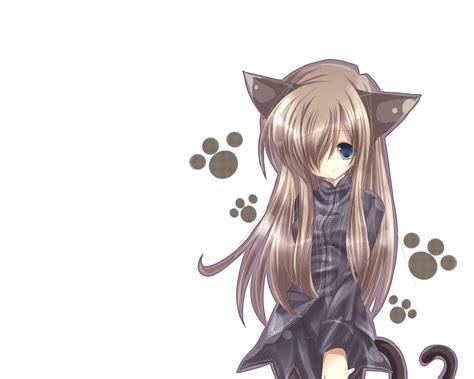 Anime Cat Girl  Catgirl, Animal ears, Anime, Long hair ... - brown hair anime girl with black cat