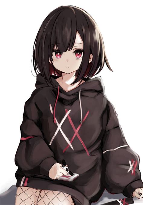 Oversized Hoodie : streetmoe - anime girl short brown hair black hoodie