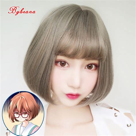 Bybrana Short Curly Hair Bob Pear Head Air Bangs Black ... - brown hair short bangs brown hair short cute anime girl