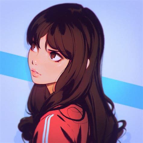 Anime picture 1080x1080 with original kr0npr1nz long hair ... - aesthetic anime girl pfp brown hair and glasses