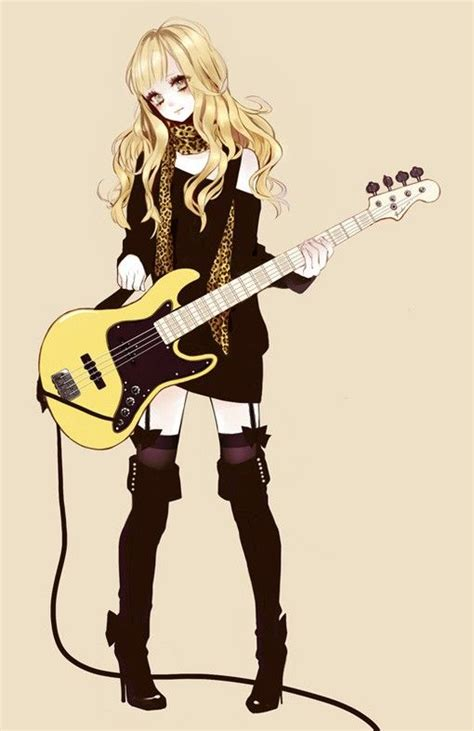 Anime girl playing or holding a guitar, who knows if she's ... - brown hair beautiful anime girl with guitar