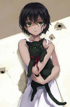 Dark skin anime girl - cute anime girl with short dark brown hair