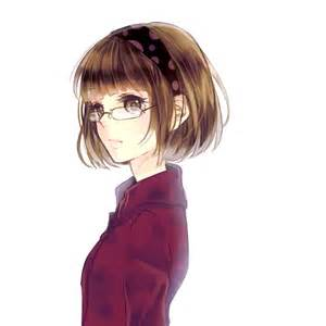 Glasses, Female, Solo, Short Hair, Brown Hair - Zerochan ... - aesthetic anime girl with short brown hair and glasses