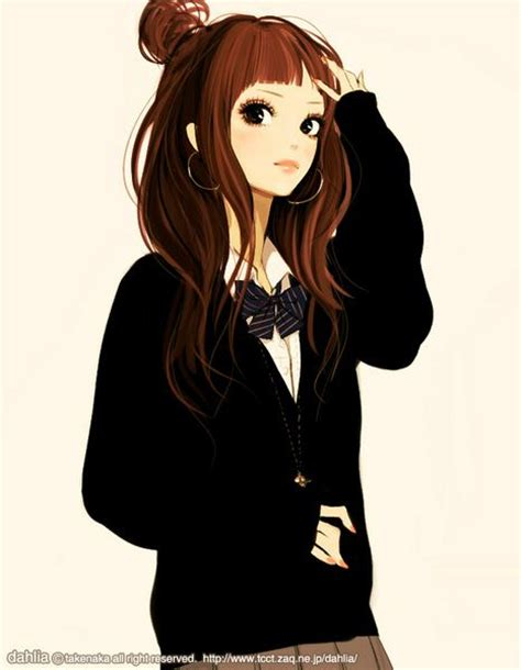 Japanese school girl. Love the cardi & bow.  Fine Art and ... - cute anime girl brown hair blue eyes hoodie