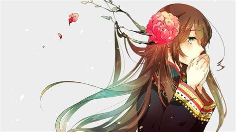 Long hair, Brunette, Blue eyes, Anime, Anime girls, Simple ... - brown hair cute anime girl blue eyes
