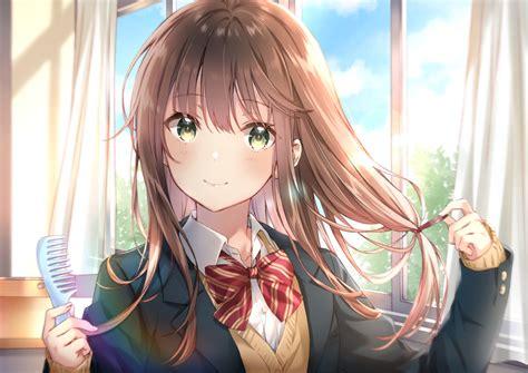 Bow brown hair close clouds green eyes long hair original ... - long hair brown hair green eyes long hair brown hair cute anime girl