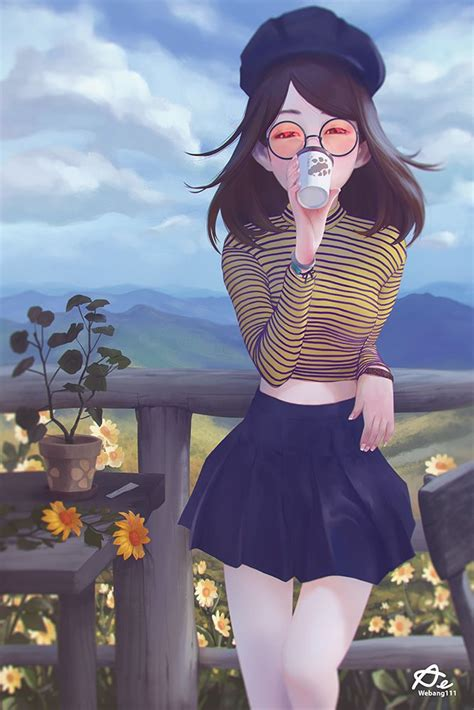 Holiday time by Aekkarat Sumatchaya  2D ... - aesthetic anime girl with short brown hair and glasses