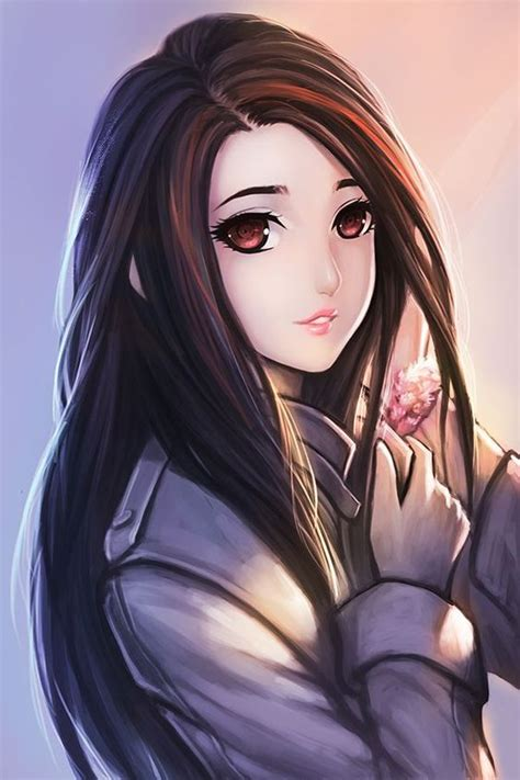 Girl with black hair and brown eyes drawing - Google ... - beautiful anime girl with black hair and brown eyes