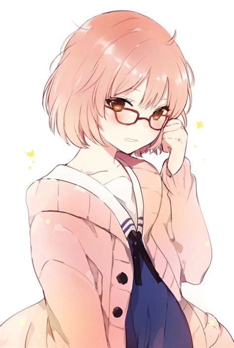 Anime girl short brown hair red glasses by Alicia  WHI - girl anime characters with short brown hair and glasses