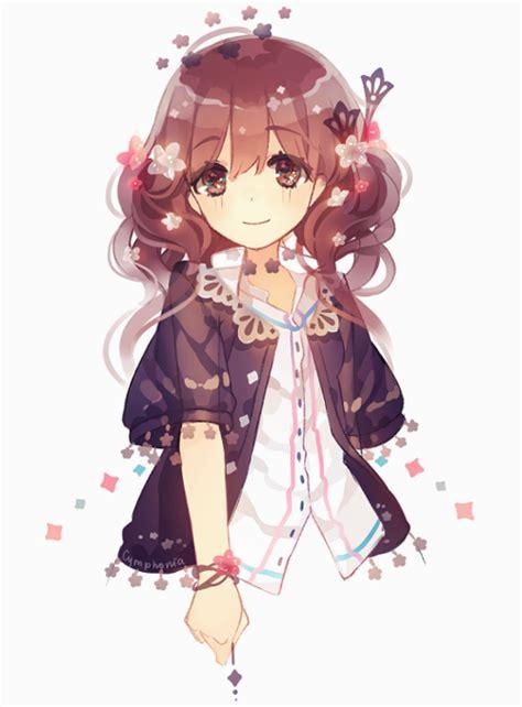 Brown hair brown eyes black cardigan anime girl  We Heart ... - anime girl with black hair and brown eyes kid