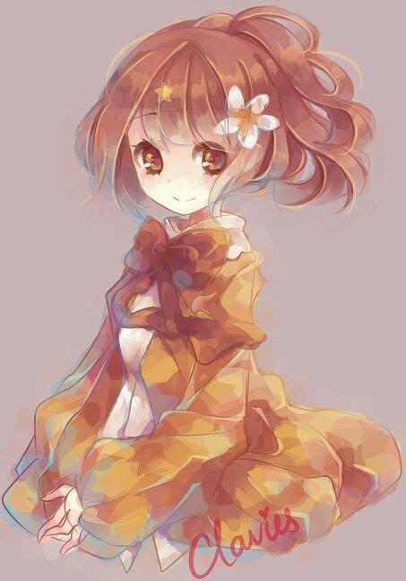 Anime girl. .brown hair..golden eyes. .flower. .cute.. by ... - anime girl brown hair brown eyes kid