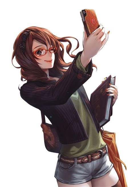 Brown hair anime girl glasses phone render png by ... - girl anime characters with short brown hair and glasses