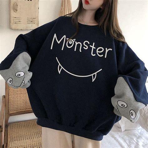 Japanese Blue Grey Monster Oversize Sweater SD00849 ... - brown hair sweater blue eyes brown hair sweater cute anime girl