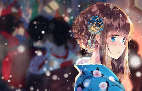 Brown Hair, Anime, Cute, Blue Eyes, Girl, Smile, Kimono ... - brown hair flower crown cat brown eyes brown hair flower crown cat cute anime girl